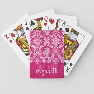 De hete Roze Tekst van de Douane van het Patroon Speelkaarten