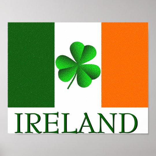 de ierse vlag van de klaver van ierland kleurt poster | zazzle.be