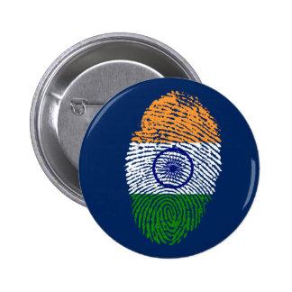 De Indische vlag van de aanrakingsvingerafdruk Ronde Button 5,7 Cm