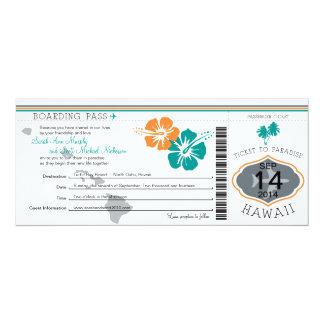 De Instapkaart van het huwelijk aan Hawaï 10,2x23,5 Uitnodiging Kaart