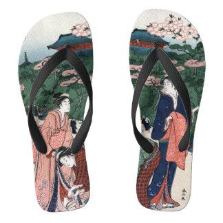 De Japanse Vintage Stijl van de Kunst Teenslippers