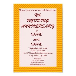 De jubileum-Oranje Zigzag van het huwelijk, Roze 12,7x17,8 Uitnodiging Kaart