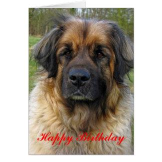 De kaart van de de hondverjaardag van Leonberger,