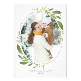 De Kaart van de Foto van Kerstmis van de Twijgen 12,7x17,8 Uitnodiging Kaart