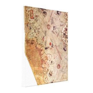 De Kaart van de Wereld van Reis van Piri Canvas Afdrukken