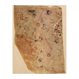 De Kaart van de Wereld van Reis van Piri Hout Afdruk