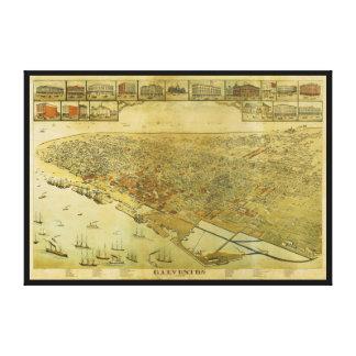 De Kaart van het vogelperspectief van Galveston Canvas Afdrukken