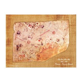 De Kaart van Reis van Piri Canvas Afdruk
