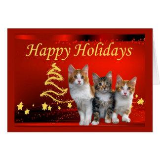 De Kerstkaart van de kat Kaart