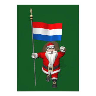 De Kerstman met Vlag van Nederland 12,7x17,8 Uitnodiging Kaart