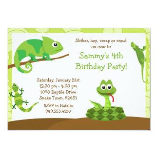 De kinder ReptielUitnodiging van de Partij van de 12,7x17,8 Uitnodiging Kaart