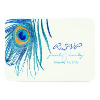 De kleur van de aquapauw feather/DIY van 8,9x12,7 Uitnodiging Kaart