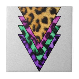 De kleurrijke Driehoeken van de Luipaard Tegeltje