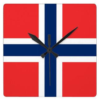 De Klok van de muur met Vlag van Noorwegen