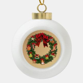 De Kroon van Kerstmis Keramische Bal Ornament