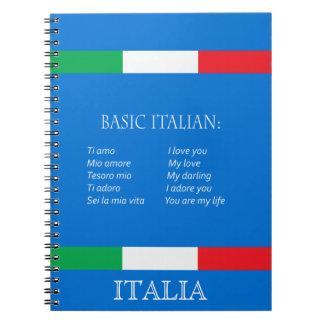 De langue italienne de base de carnet italien de