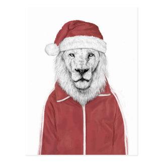 De leeuw van de kerstman briefkaart