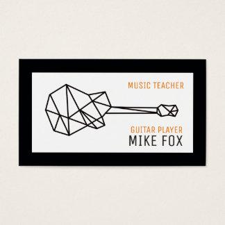 de leraar van de muziekgitaar, professioneel zwart visitekaartjes