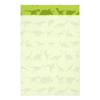 De leuke Groene Patronen van Dinosaurussen voor Briefpapier