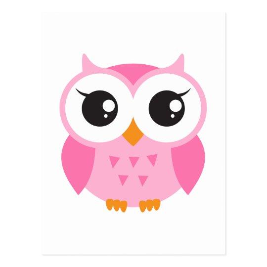 De leuke roze uil van het cartoonbaby briefkaart | Zazzle.be
