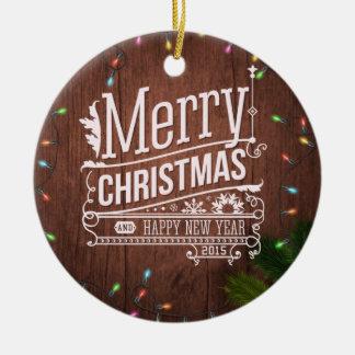 De Lichten van Kerstmis Rond Keramisch Ornament