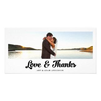 De liefde en het Bedankt | Huwelijk danken u de Gepersonaliseerde Fotokaarten