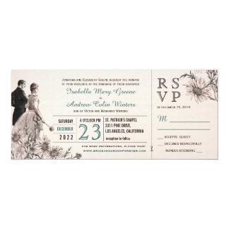 De liefde en het Vintage Huwelijk van Madeliefjes 10,2x23,5 Uitnodiging Kaart