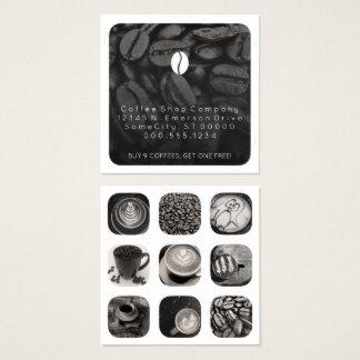 de loyaliteit van het koffiegram vierkante visitekaartjes