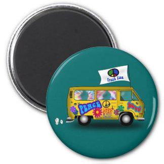 De magische Bestelwagen van de Hippie Ronde Magneet 5,7 Cm