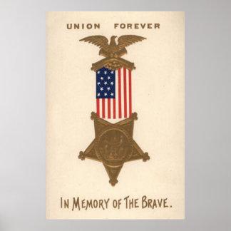 De Medaille Eagle van de Burgeroorlog van de Unie Poster