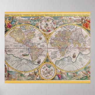 De middeleeuwse Kaart van de Wereld van 1525 Poster