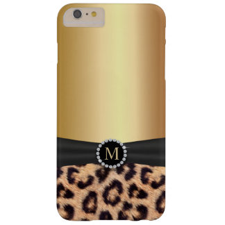 De moderne Gouden Luipaard van het Monogram Barely There iPhone 6 Plus Hoesje