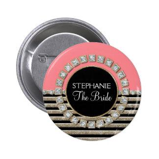 De moderne Horizontale Streep schittert Mod. van B Ronde Button 5,7 Cm