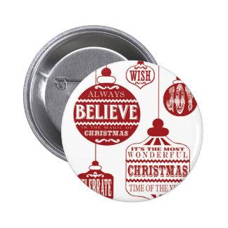 de moderne vintage ornamenten van Kerstmis Speldbuttons