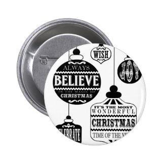 de moderne vintage ornamenten van Kerstmis Ronde Button 5,7 Cm