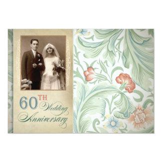 de mooie 60ste foto van de huwelijksverjaardag 12,7x17,8 uitnodiging kaart