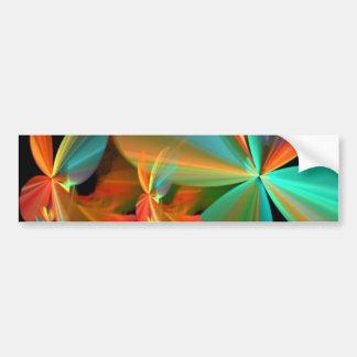 De mooie Blauwgroen & Oranje Fractal Bloemblaadjes Bumpersticker
