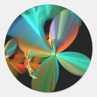 De mooie Blauwgroen & Oranje Fractal Bloemblaadjes Ronde Sticker