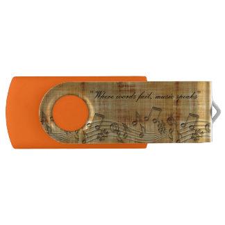 De muziek neemt nota van de Aandrijving van de Swivel USB 2.0 Stick