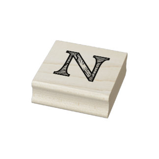 De N Geëtste Zegel van de Kunst van het Monogram Rubberstempel