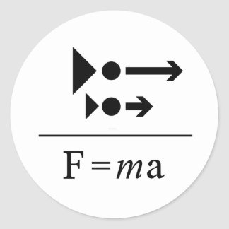 De Newton la loi en second lieu Sticker Rond