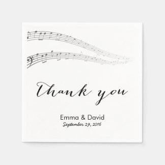 De Nota's van de muziek danken u Muzikaal Huwelijk Papieren Servetten