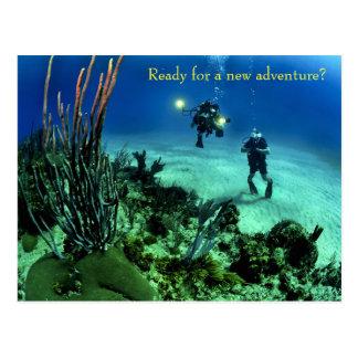 De nouveau à l'aventure de plongée de mer profonde carte postale