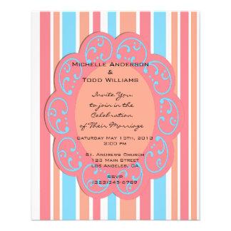 De oranje Blauwe Uitnodigingen van het Huwelijk Flyer 11,4 X 14,2 Cm