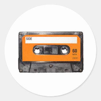 De oranje Cassette van de jaren '80 van het Etiket Ronde Sticker