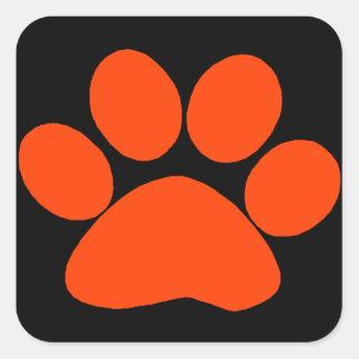 De oranje Druk van de Poot Vierkant Sticker