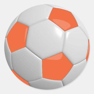 De oranje en Witte Sportieve Bal van het Voetbal Ronde Stickers