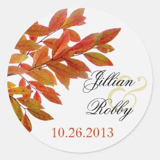 De oranje Etiketten van het Huwelijk van de Herfst Ronde Stickers