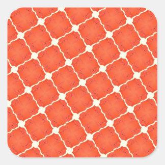 De oranje Giften van het Patroon van het Net van Vierkant Sticker