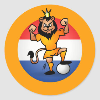 De oranje held van het leeuwvoetbal ronde stickers